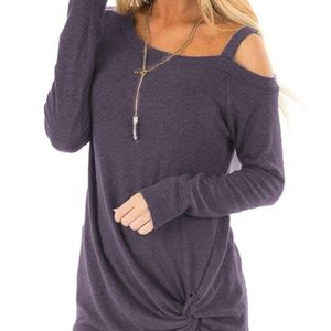 Tops - Plum Long Sleeve Cold Shoulder Twisted Tunic
